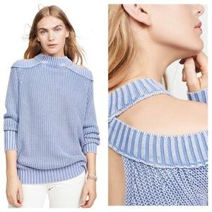 Free people half moon bay pullover down blue